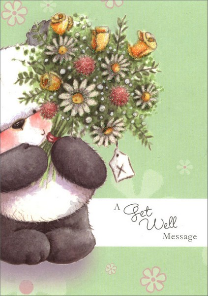 Panda With Big Bouquet of Flowers (1 card/1 envelope) Freedom Greetings Get Well Card - FRONT: A Get Well Message  INSIDE: Hope you're already feeling better.