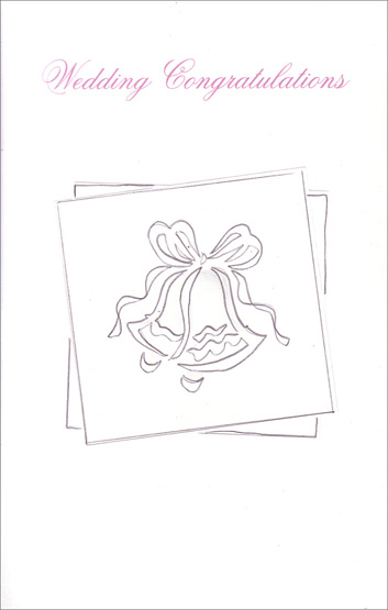 Embossed Wedding Bells Outline (1 card/1 envelope) Freedom Greetings Wedding Card - FRONT: Wedding Congratulations  INSIDE: This brings a wish for everything good in the years that are on the way� And sincere congratulations to you both on your wedding day.
