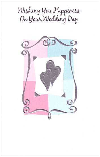 Silver Embossed Hearts with Border (1 card/1 envelope) Freedom Greetings Wedding Card - FRONT: Wishing You Happiness On Your Wedding Day  INSIDE: May this day be a reminder of your deep and lasting love. Congratulations!