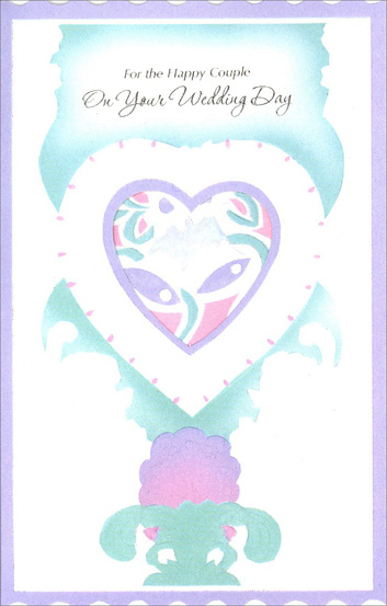 Pastel Wedding Bells in Die Cut Heart (1 card/1 envelope) Freedom Greetings Wedding Card - FRONT: For the Happy Couple On Your Wedding Day  INSIDE: A wedding wish for both of you� For a life filled with love and friendship, too, A life in which you both will find happiness and peace of mind because the vows you made when you were wed guide you through all the years ahead. Congratulations!