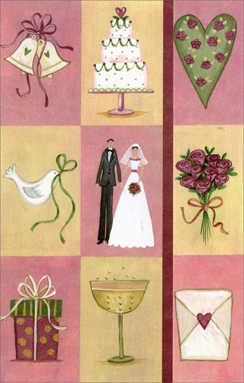 Wedding Icon Squares (1 card/1 envelope) Freedom Greetings Wedding Card  INSIDE: Warm wishes to the bride and groom! May love and joy forever bloom And fill the years ahead of you With many lovely dreams come true. Congratulations