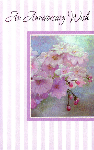 Pink Flowers Blooming on Branch (1 card/1 envelope) Freedom Greetings Anniversary Card - FRONT: An Anniversary Wish  INSIDE: May your anniversary be filled with reminders of what a special person you are. Have a Wonderful Day