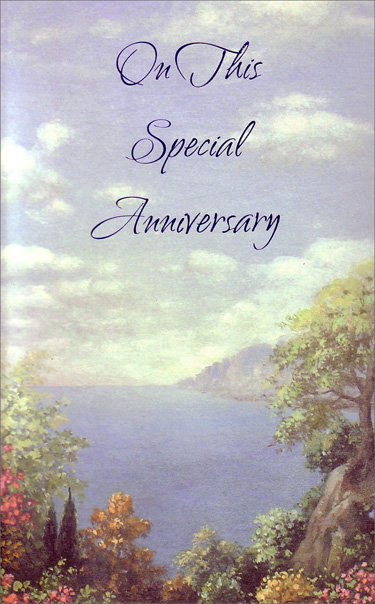 Scenic view of Bay (1 card/1 envelope) Freedom Greetings Anniversary Card - FRONT: On This Special Anniversary  INSIDE: This is a special time for you and for everyone who cares about you. Congratulations
