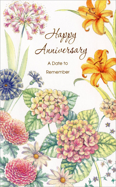 Blooming Wildflowers (1 card/1 envelope) Freedom Greetings Anniversary Card - FRONT: Happy Anniversary - A Date to Remember  INSIDE: It's a date to remember, a time to recall� so you're being thought of today. Hope it feels great just to stop and to celebrate in your own personal way.