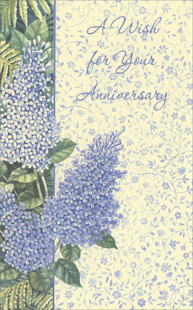 Purple Lilacs Anniversary Wish (1 card/1 envelope) Freedom Greetings Anniversary Card - FRONT: A Wish for Your Anniversary  INSIDE: May you look back on pleasant memories and look forward with bright anticipation to good times ahead as you celebrate this special day. Congratulations