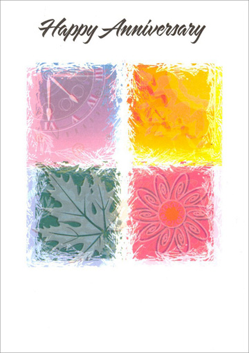 Four Seasons Icons (1 card/1 envelope) Freedom Greetings Anniversary Card - FRONT: Happy Anniversary  INSIDE: May you feel deep pride and happiness when you look back today! Congratulations!