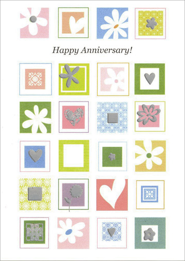 Daisies and Heart Icons (1 card/1 envelope) Freedom Greetings Anniversary Card - FRONT: Happy Anniversary!  INSIDE: May the future years hold even more joy and fulfillment.