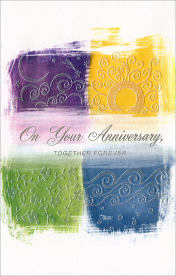 Anniversary Together Forever (1 card/1 envelope) Freedom Greetings 1st Anniversary Card - FRONT: On Your Anniversary, Together Forever  INSIDE: In all this world there's nothing quite like the great promise kept between husband and wife. Wrapped in this promise I'm sure you will find a love just like yours� the forever kind. Happy Anniversary