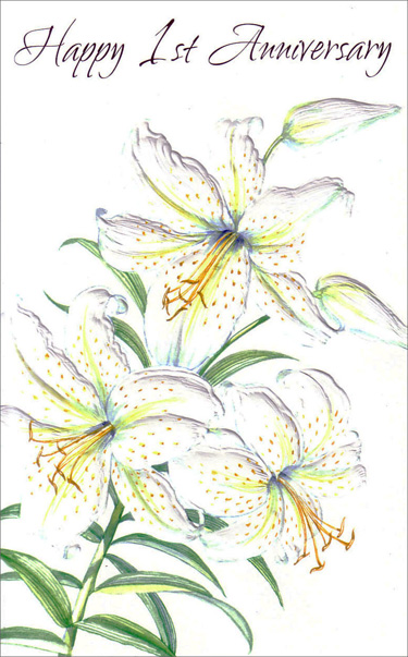 Embossed White Lilies (1 card/1 envelope) Freedom Greetings 1st Anniversary Card - FRONT: Happy 1st Anniversary  INSIDE: May this be the first of many. May you know long years of love. May small moments filled with goodness be what your life is made of. Cheers and Congratulations!