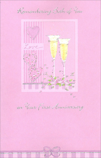 Champagne Hearts and Roses (1 card/1 envelope) Freedom Greetings 1st Anniversary Card - FRONT: Remembering Both of You on Your First Anniversary  INSIDE: You're such a special couple that these greetings bring your way a wish that both of you will share a very happy day! Congratulations on Your First Year Together!