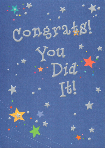 Silver Stars Congrats (1 card/1 envelope) Freedom Greetings Congratulations Card - FRONT: Congrats! You Did It!  INSIDE: I always knew you had it in you!