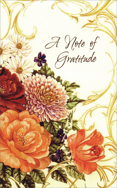 Glittered Flowers Thanks (1 card/1 envelope) Freedom Greetings Thank You Card - FRONT: A Note of Gratitude  INSIDE: Your kindness will always be remembered. Thank you so much.