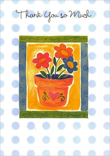Glittered Flowers in Pot Thanks (1 card/1 envelope) - Thank You Card - FRONT: Thank You So Much  INSIDE: There are so many things in life to be grateful for, and now� thanks to your kindness, there are even more!
