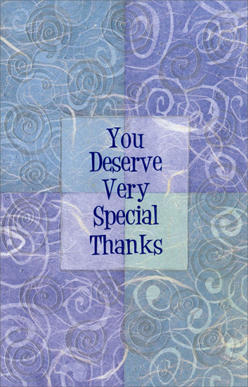 Pearlized Foil Swirls Thanks (1 card/1 envelope) Freedom Greetings Thank You Card - FRONT: You Deserve Very Special Thanks  INSIDE: �Thank you� is such a simple phrase, and yet it says so much. Thank You
