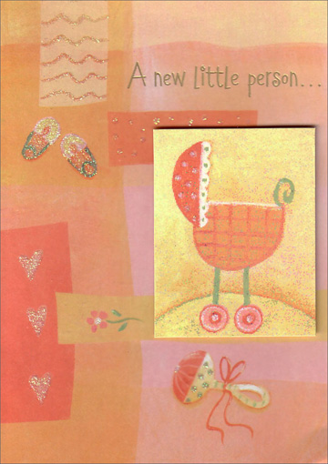 Baby Carriage Tip On (1 card/1 envelope) - New Baby Card - FRONT: A new little person�  INSIDE: A big new love. Congratulations