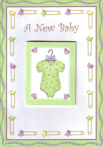Baby Onsie Tip on (1 card/1 envelope) Freedom Greetings New Baby Card - FRONT: A New Baby  INSIDE: Welcome Little One! Yours to hold and love for a lifetime. Congratulations