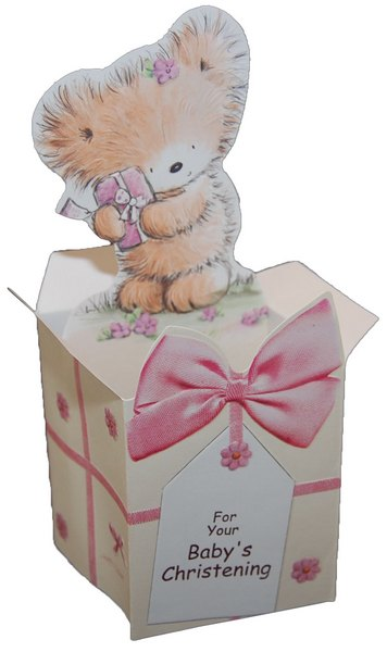 Furry Bear Pop Up for Baby Christening (1 card/1 envelope) Freedom Greetings Christening Card - FRONT: For You Baby's Christening  INSIDE: …with Love God Bless All of You