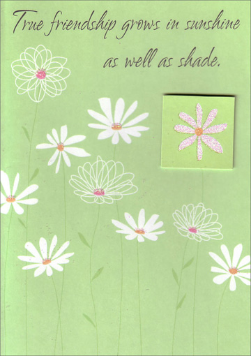 White Daisies with Tip On (1 card/1 envelope) Freedom Greetings Friendship Card - FRONT: True friendship grows in sunshine as well as shade.  INSIDE: Thank you for always being there for me.