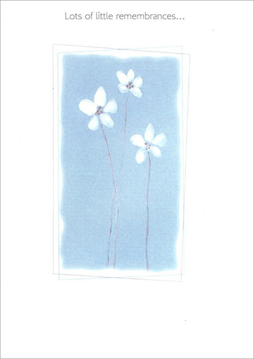 White Embossed Flowers on Blue Background (1 card/1 envelope) Freedom Greetings Friendship Card - FRONT: Lots of little remembrances�  INSIDE: �make one big friendship.