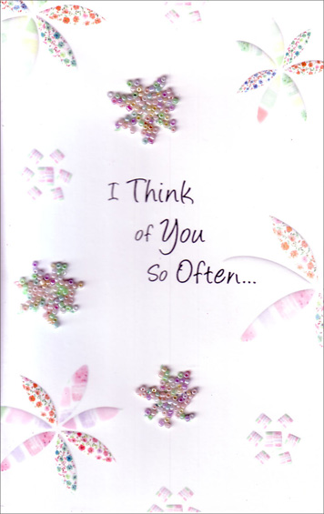 Beaded Geometric Flowers (1 card/1 envelope) Freedom Greetings Thinking of You Card - FRONT: I Think of You So Often�  INSIDE: Thoughts of you fill me one by one, when the day begins, when the day is done.