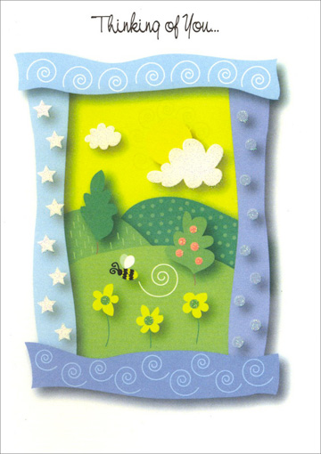 Picture Frame Landscape with Bee (1 card/1 envelope) - Thinking of You Card - FRONT: Thinking of You�  INSIDE: �and remembering the times we've spent together. And wishing you a bright and happy day!