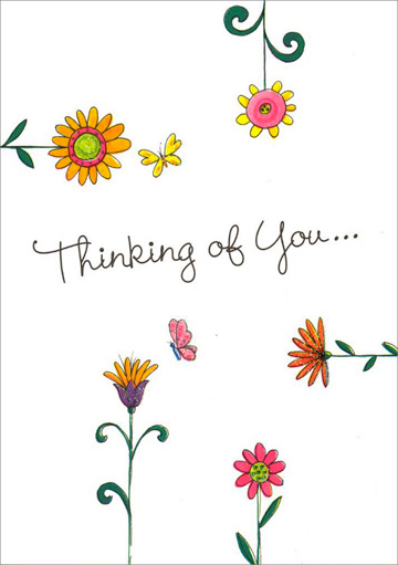 Hand Drawn Flowers and Butterflies (1 card/1 envelope) Freedom Greetings Thinking of You Card - FRONT: Thinking of You�  INSIDE: I wake up each morning thinking of you� Beautiful thoughts that last all day!