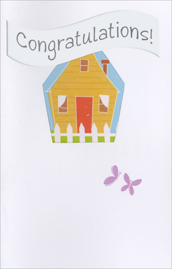 House Die-Cut (1 card/1 envelope) - New Home Cards - FRONT: Congratulations!  INSIDE: Best wishes in your new home!