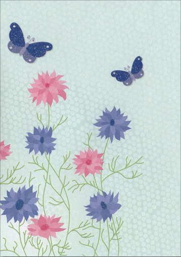 Pink and Blue Flowers with Butterflies (1 card/1 envelope) Freedom Greetings Blank Card