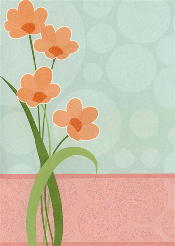 Peach Flowers & Polka Dots (1 card/1 envelope) Freedom Greetings Blank Card