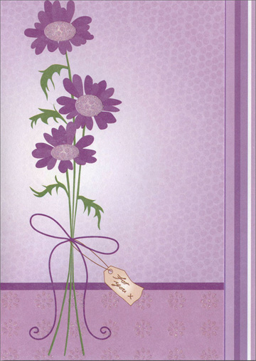 Purple Flowers with Ribbon (1 card/1 envelope) Freedom Greetings Blank Card