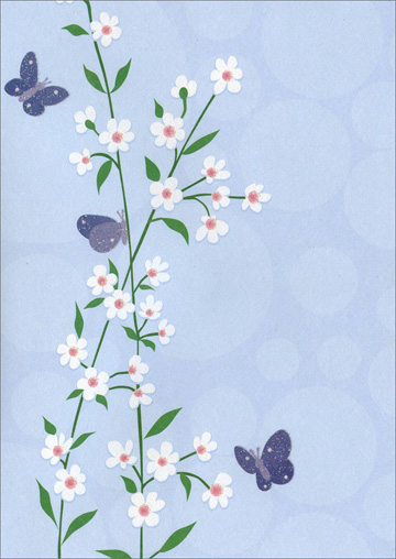 Tall White Flowers with Butterflies (1 card/1 envelope) - Blank Card
