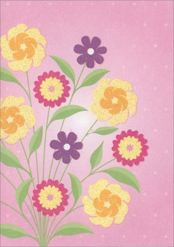 Yellow Purple Pink Flowers (1 card/1 envelope) Freedom Greetings Blank Card