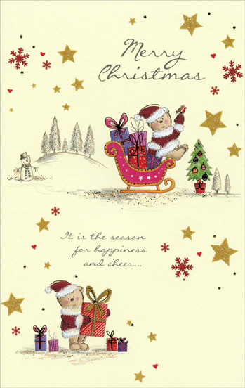 Santa Bears & Stars (1 card/1 envelope) Christmas Card - FRONT: Merry Christmas - It is the season for happiness and cheer�  INSIDE: �and joy to last throughout the year - Have a Wonderful Christmas