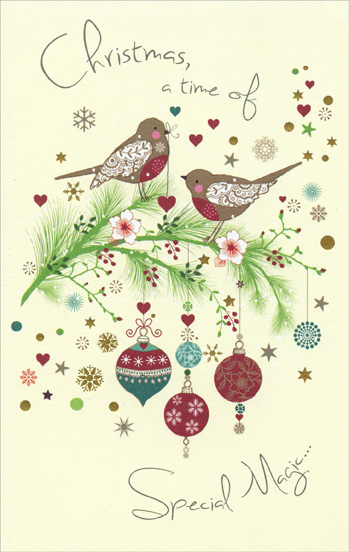 Birds on Branches (1 card/1 envelope) - Christmas Card - FRONT: Christmas, a time of Special Magic�  INSIDE: �beauty, laughter, cherished moments and love.