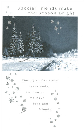 Snow Covered Pines & Road: Friend (1 card/1 envelope) - Christmas Card - FRONT: Special Friends make the Season Bright - The joy of Christmas never ends, as long as we have love and friends  INSIDE: Christmas holds a world of joys and bright, heartwarming things, But friends like you are the nicest gifts that any season brings� It means a lot to know you're there and always, all year through, Whatever makes you happiest is always wished for you. Merry Christmas