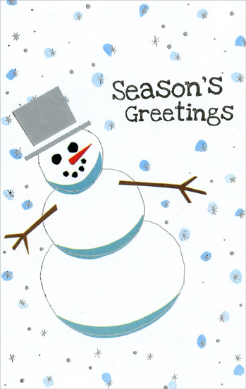 Snowman Looking Up (1 card/1 envelope) Christmas Card - FRONT: Season's Greetings  INSIDE: May the spirit of the season remain within your heart throughout the coming year.