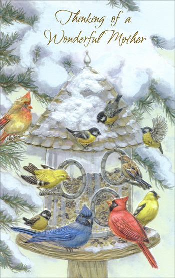 Bird Feeder: Mother (1 card/1 envelope) Christmas Card - FRONT: Thinking of a Wonderful Mother  INSIDE: Thinking of all the dear things you do and have always done to bring joy to those around you… and making this loving wish for you with a grateful heart for one of life's best gifts… a wonderful mother. Have a Lovely Christmas