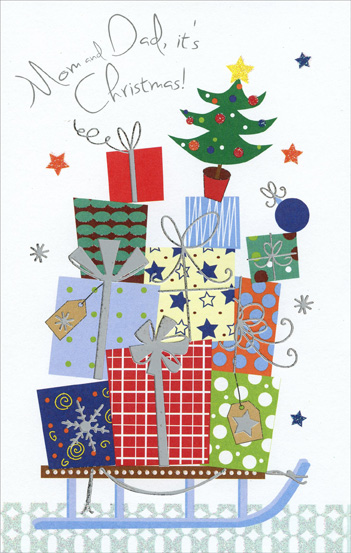 Gifts on Sled: Mom & Dad (1 card/1 envelope) Christmas Card - FRONT: Mom and Dad, it's Christmas!  INSIDE: Christmas time is memory time� �and that's especially true when hearts go home at Christmas with loving thoughts of you. Merry Christmas