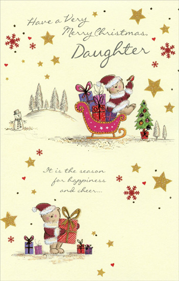 Santa Bears & Stars: Daughter (1 card/1 envelope) Christmas Card - FRONT: Have a Very Merry Christmas Daughter - It is the season for happiness and cheer…  INSIDE: …and joy to last throughout the year - Have a Wonderful Christmas