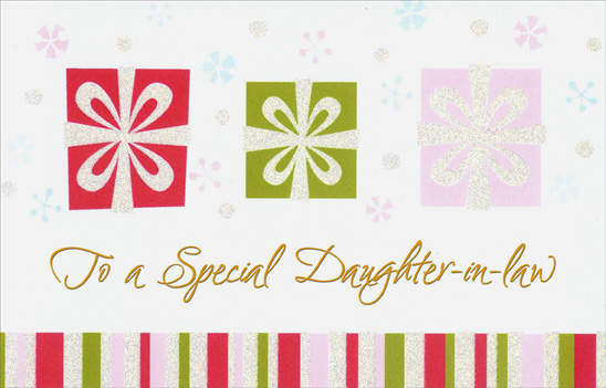 White Ribbon on 3 Gifts: Daughter-in-Law (1 card/1 envelope) Christmas Card - FRONT: To a Special Duaghter-in-law  INSIDE: A �daughter� as special as you is a gift to treasure all year through. Merry Christmas