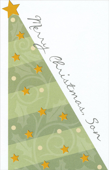 Light Green Tree: Son (1 card/1 envelope) Christmas Card - FRONT: Merry Christmas, Son  INSIDE: You've always been the best present a parent could wish for - Have a Happy Christmas