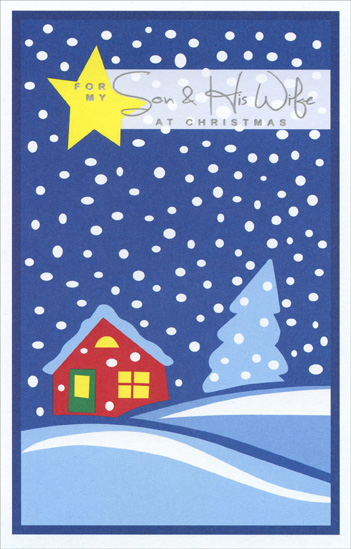 Yellow Star & Snowfall: Son (1 card/1 envelope) - Christmas Card - FRONT: For My Son & His Wife at Christmas  INSIDE: With a son and daughter-in-law like you, every day is a little bit like Christmas! Merry Christmas to Both of You