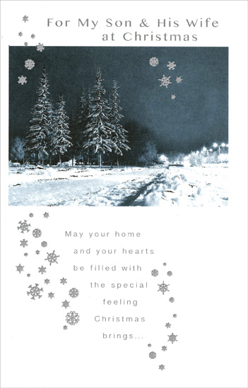 Night on a Snowy Road: Son (1 card/1 envelope) Christmas Card - FRONT: For My Son & His Wife at Christmas - May your home and your hearts be filled with the special feeling Christmas brings�  INSIDE: �and may it add even more joy to the season to know that you are both very special, too! Merry Christmas with love to both of you!