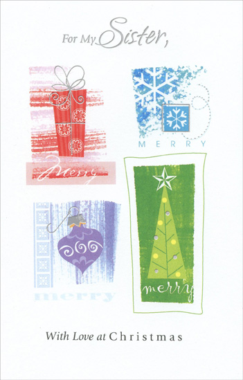 Red, Blue, Purple & Green Symbols: Sister (1 card/1 envelope) - Christmas Card - FRONT: For My Sister, With Love at Christmas  INSIDE: There's no friend like a sister and no sister as wonderful as you. Merry Christmas