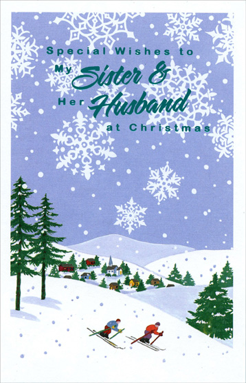 Skiiers on Hill: Sister (1 card/1 envelope) Christmas Card - FRONT: Special Wishes to My Sister & Her Husband at Christmas  INSIDE: Love to you both at Christmastime and always!