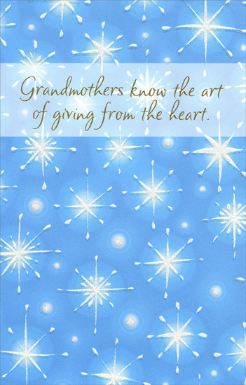 Sparkling Snowflakes: Grandmother (1 card/1 envelope) Christmas Card - FRONT: Grandmothers know the art of giving from the heart  INSIDE: You have the loving gift of giving your time, your thoughts, your warmth to others� That makes you very special and very dear. May all the joy you bring be returned to you at Christmas.