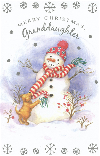 Snowman & Puppy: Granddaughter (1 card/1 envelope) Christmas Card - FRONT: Merry Christmas, Granddaughter  INSIDE: You're a very special granddaughter with warm and cheery ways that add your own dear gift of joy to all our family days.