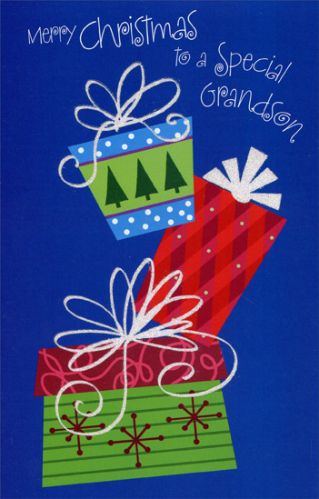 Presents with Glitter Bows: Grandson (1 card/1 envelope) Christmas Card - FRONT: Merry Christmas to a Special Grandson  INSIDE: At Christmastime, it means so much to tell you once again what a wonderful grandson you are and always have been - Merry Christmas