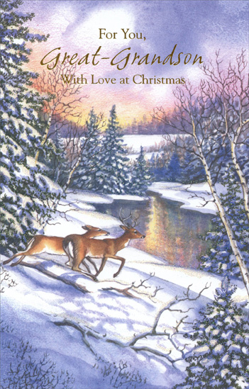 Deer at Stream: Great-Grandson (1 card/1 envelope) Christmas Card - FRONT: For You, Great-Grandson With Love at Christmas  INSIDE: May remembering Christmases gone by fill your heart with joy, Just as warm memories of you ever since you were a boy Add their special magic, their special warmth and cheeer To every lovely day throughout this happy time of year. Merry Christmas