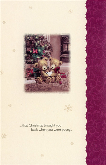 Two Teddy Bears: Grandson (1 card/1 envelope) Christmas Card - FRONT: Christmas Wishes to My Grandson and His Wife - Never forget the magic, Never forget the joy�  INSIDE: �that Christmas brought you back when you were young� Merry Christmas to You Both!